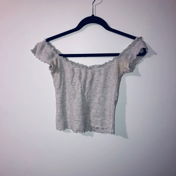 Light grey over the shoulder waffle tee